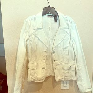 White jeans double breasted DKNY jacket